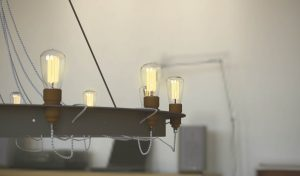 Antique and modern chandellier with Eco filament lamp bulbs. 3D CAD product shot visualisation