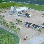 Ready mix concrete plant - 3D CAD aerial view