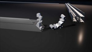 Frame from a 3D animation showing how the windows are assembled.